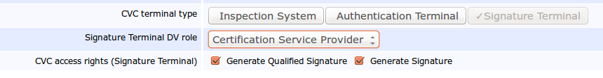 Pic 2: Body or a Certification Service Provider options in the Signature Terminal in EAC 2.10, EJBCA Enterprise 6.2.0.