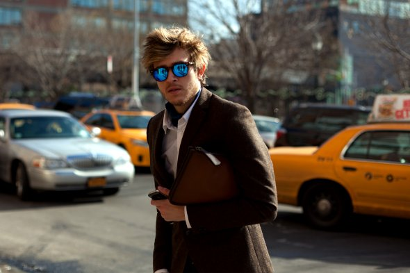 mens street style new york, brown blazer, great hair, blue reflecting sunglasses, mens beards, new york street style, mens fashion, angels point of view, 