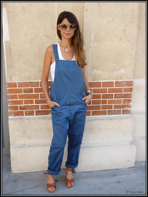 Salopette Bleu de Paname, marcel american apparel, chaussures compensées cuir naturel Jonak, Aurore Sfez le style de la semaine