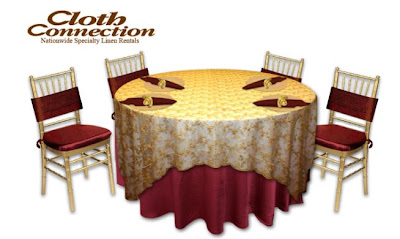 My version of a Phantom wedding banquet table setup, created by the Cloth Connection table design tool.
