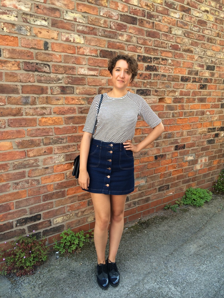How to Wear a Denim A-Line Skirt - Charlie, Distracted