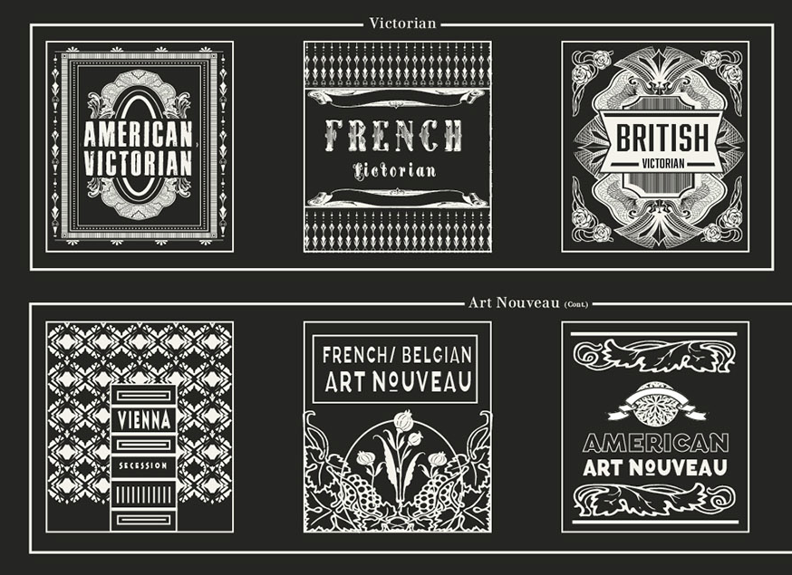 A Stylistic Survey of Graphic Design made by Pop Chart Lab. american victorian, french victorian, british victorian, vienna secession,  art nouveau, american art nouveau
