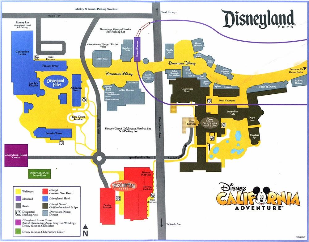 Post 1 - Introduction to the Disneyland Resort   Brian at the ... Disneyland Resort Map on