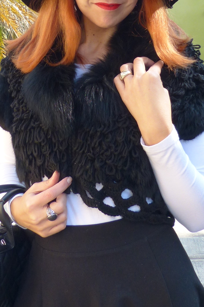 Crochet crop vest with fur details