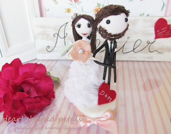 Heart Shaped Petals cake topper