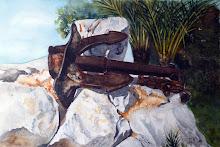 Anker op rotsblokken