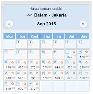 harga tiket pesawat batam jakarta september 2015