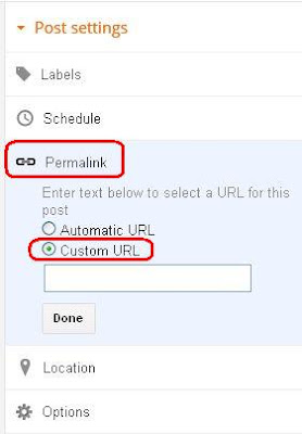 Blogger new custom permalink option