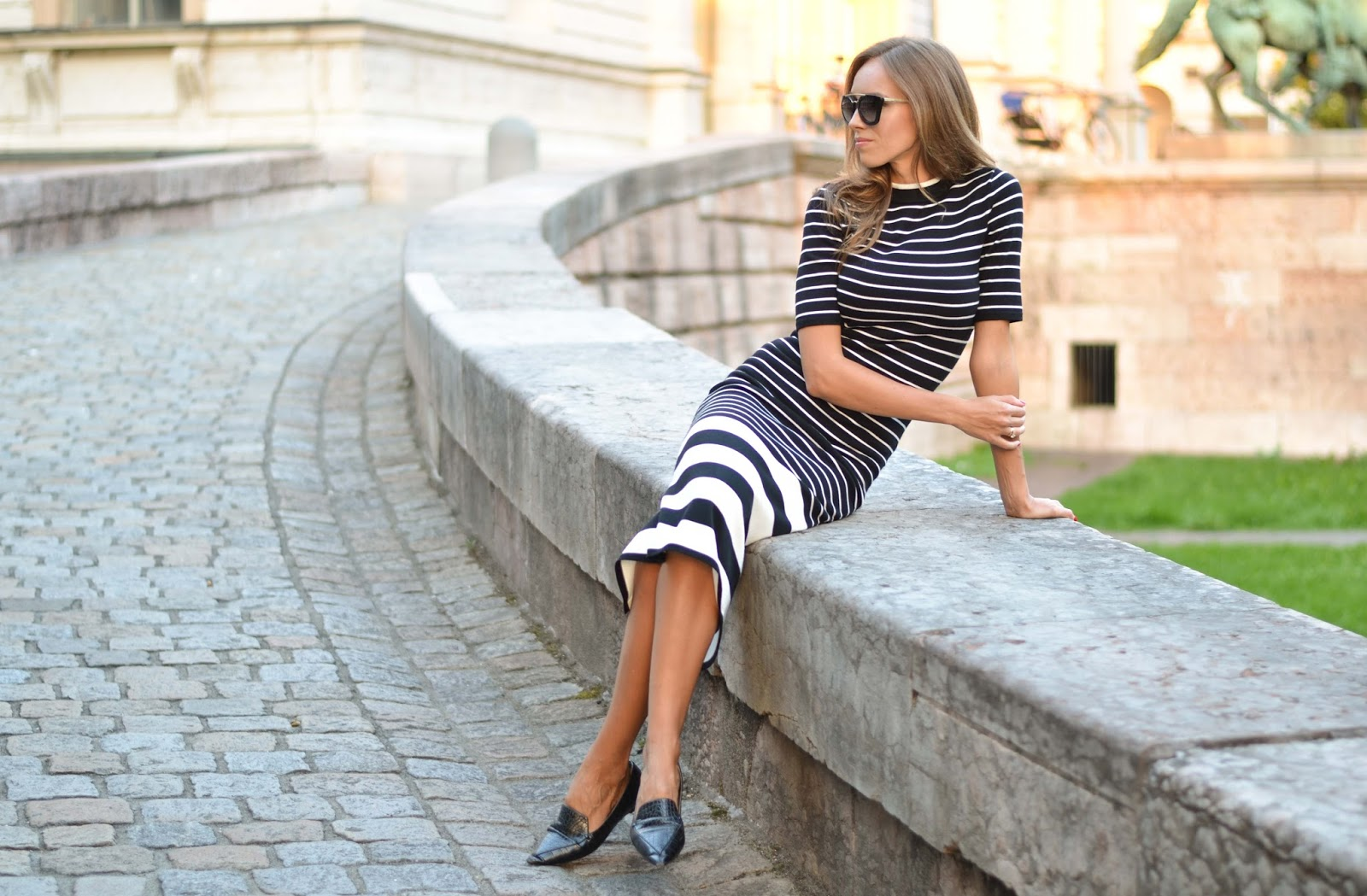 kristjaana mere hm black white striped knitted top midiskirt
