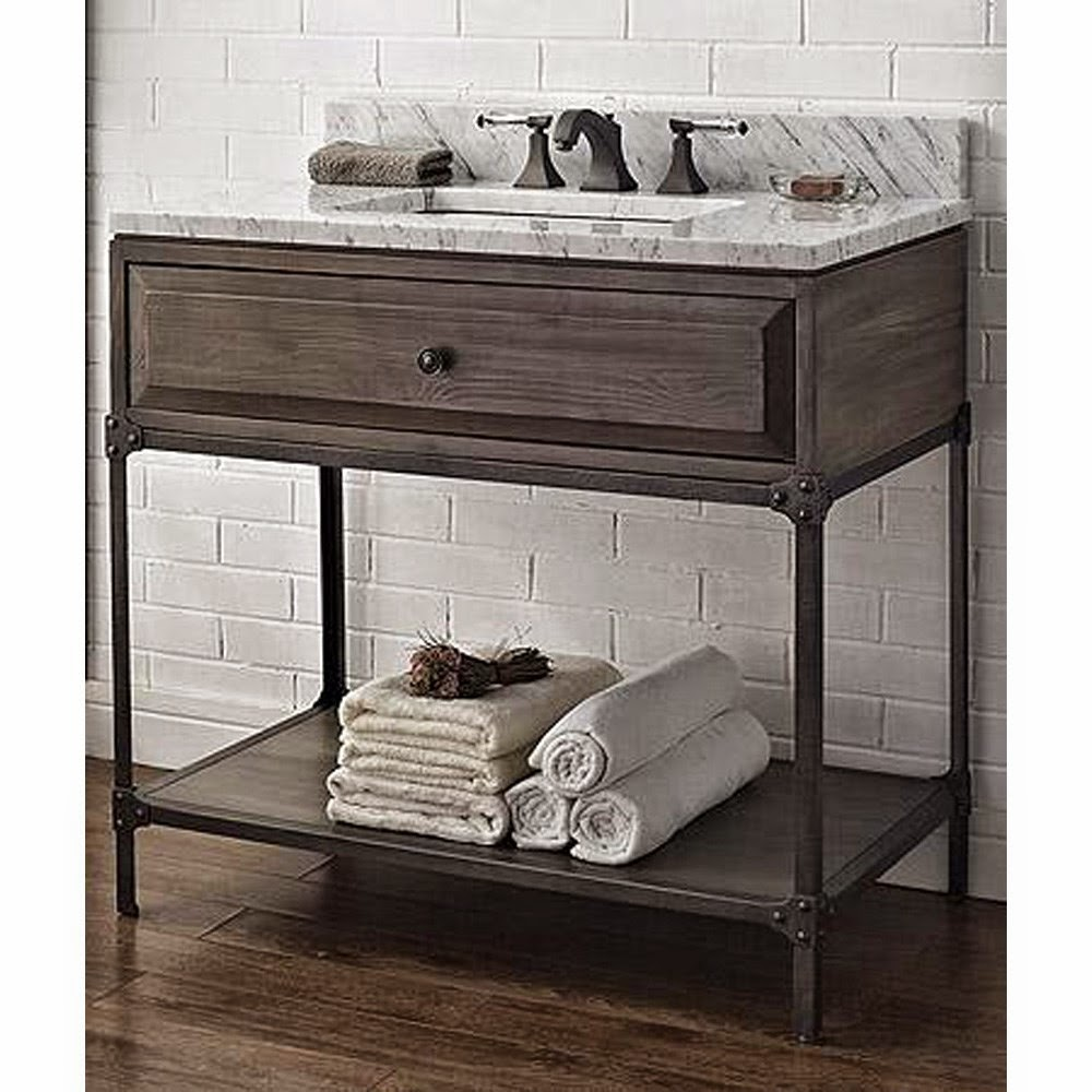 Like aged steel industrial look vanities find like buy for Looking for bathroom vanities