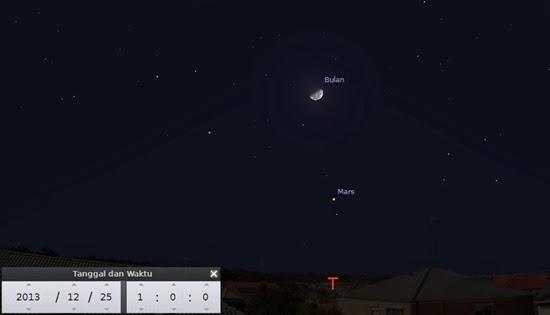 Bulan Bertemu Planet Mars Malam Ini