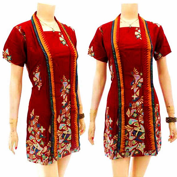 DB3776 Model Baju Dress Batik Modern Terbaru 2014