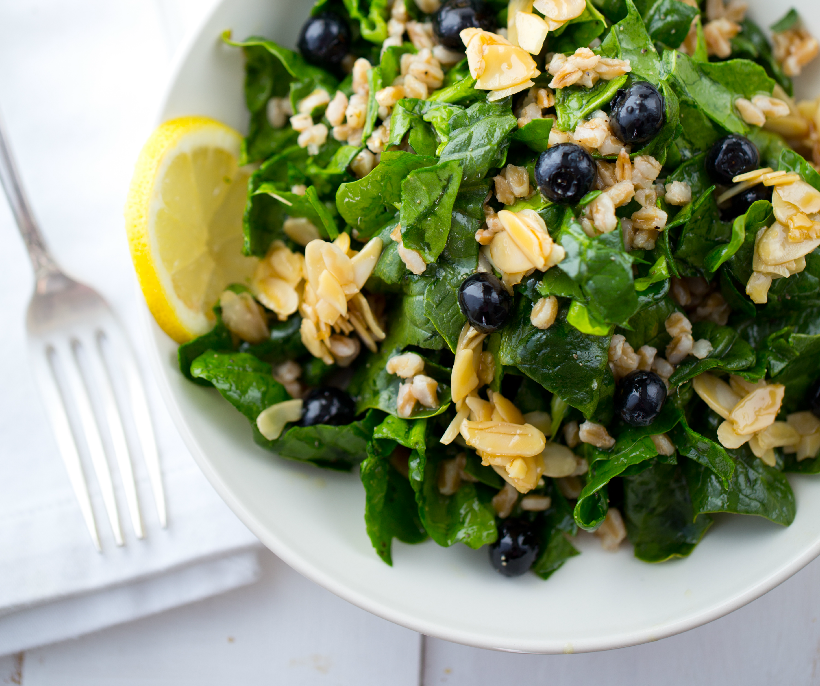 Blueberry Farro Lemon Candied Almond Salad from Healthy Happy Vegan Kitchen