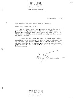 President Truman to Secretary of Defense James Forrestal, 24 September 1947