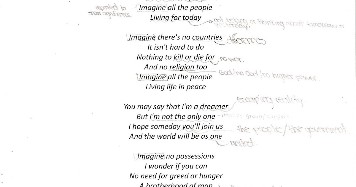 Imagine by John Lennon - an Analysis of the Song