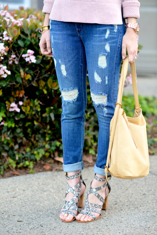 distressed james jeans and dolce vita nolin snake sandal heels M Loves M @marmar