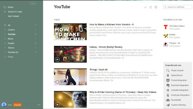 YouTube subscriptions on Feedly