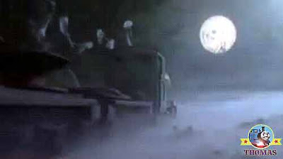 Full silver moon shining brightly through the nights foggy mist Peter Sam puffed along narrow track