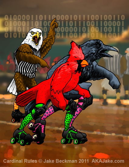 Cardinal Rules by Arizona expressionist artist Jake Beckman roller derby birds