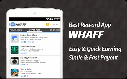 Earn money with Whaff on Android