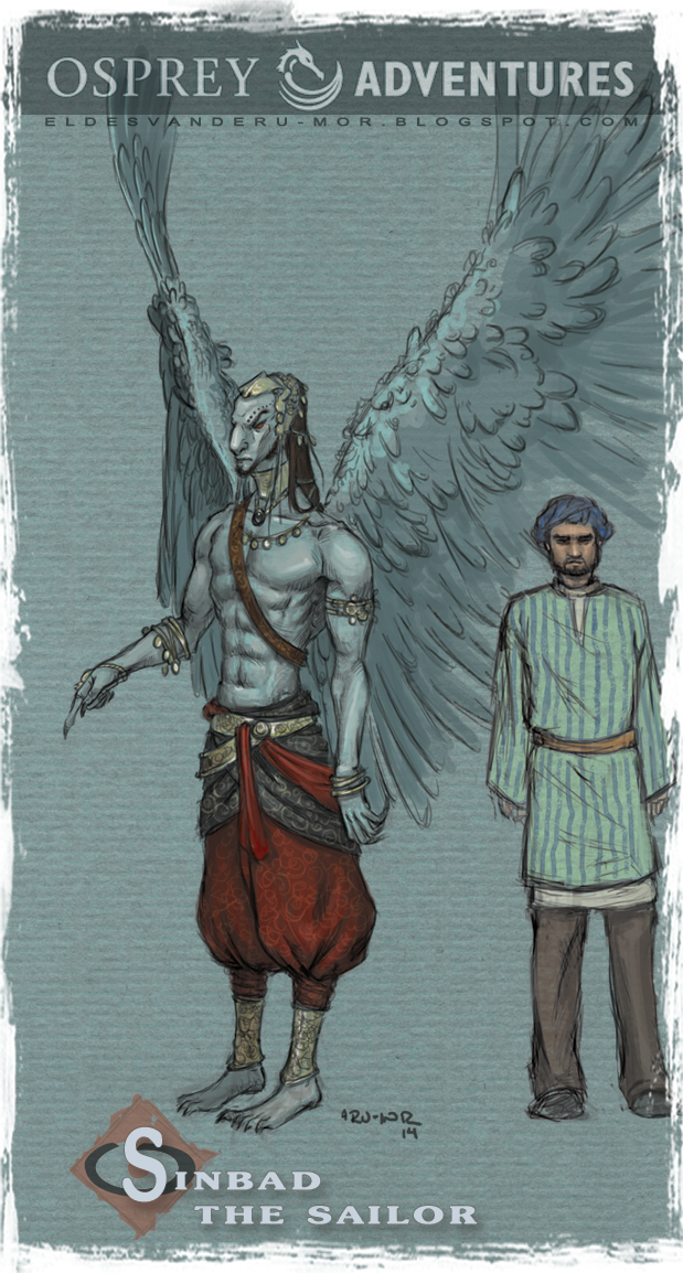 Concept art or sketches of a Winged man with Sinbad of the seventh voyage of Sinbad illustrated by RU-MOR for OSPREY Publishing