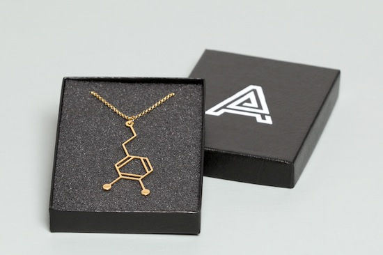 Aroha Silhouettes Gold Plated Dopamine Molecule Necklace