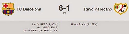Hasil Pertandingan Barcelona Vs Rayo Vallecano