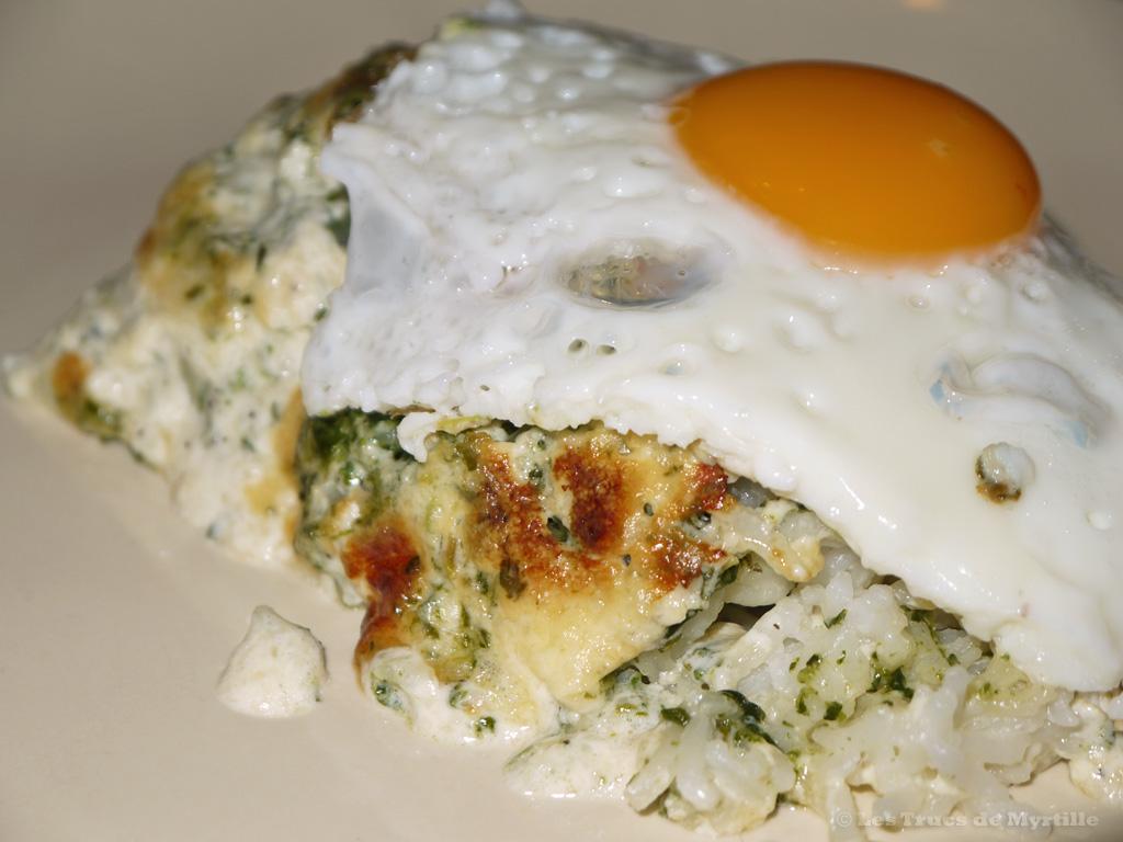 Voir la recette du gratin de riz aux épinards, crème et parmesan