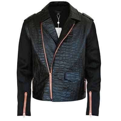 ellery man style bomber jacket leather croc coat