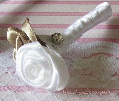 Groom boutonniere fabric roses