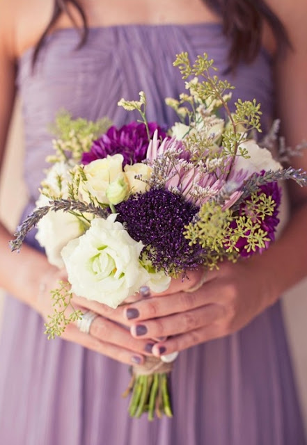 Bridesmaid in purple wedding
