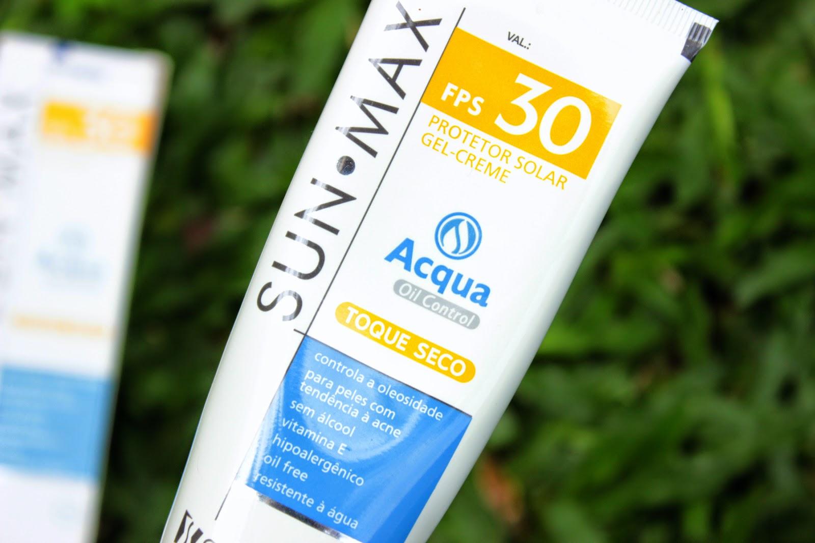 sun max, protetor solar, facial, produtos recebidos, pele oleosa, pele acnéica, fps30
