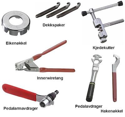 Diverse sykkelverktøy som gjør det enkelt å fikse egen sykkel