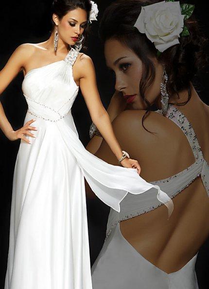 Schulterlange weiße Kleid Abschlussball