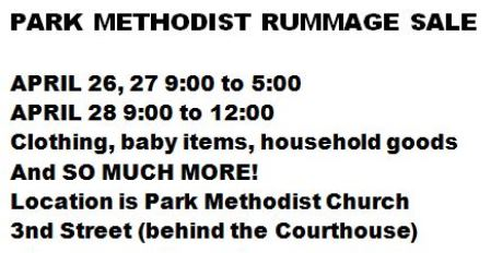 4-26/27/28 Rummage Sale Park Methodist