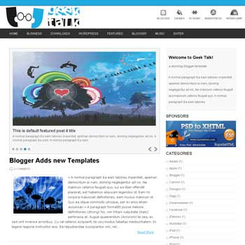 Geek Talk Blogger Template. image slider blogger template. 3 column footer template blog