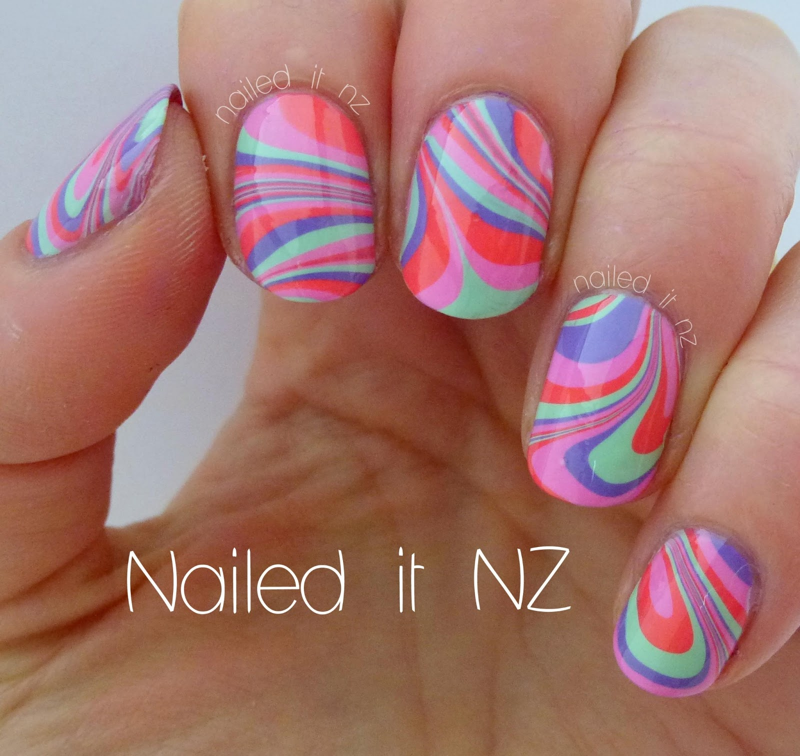 Water marble nail art tutorial.