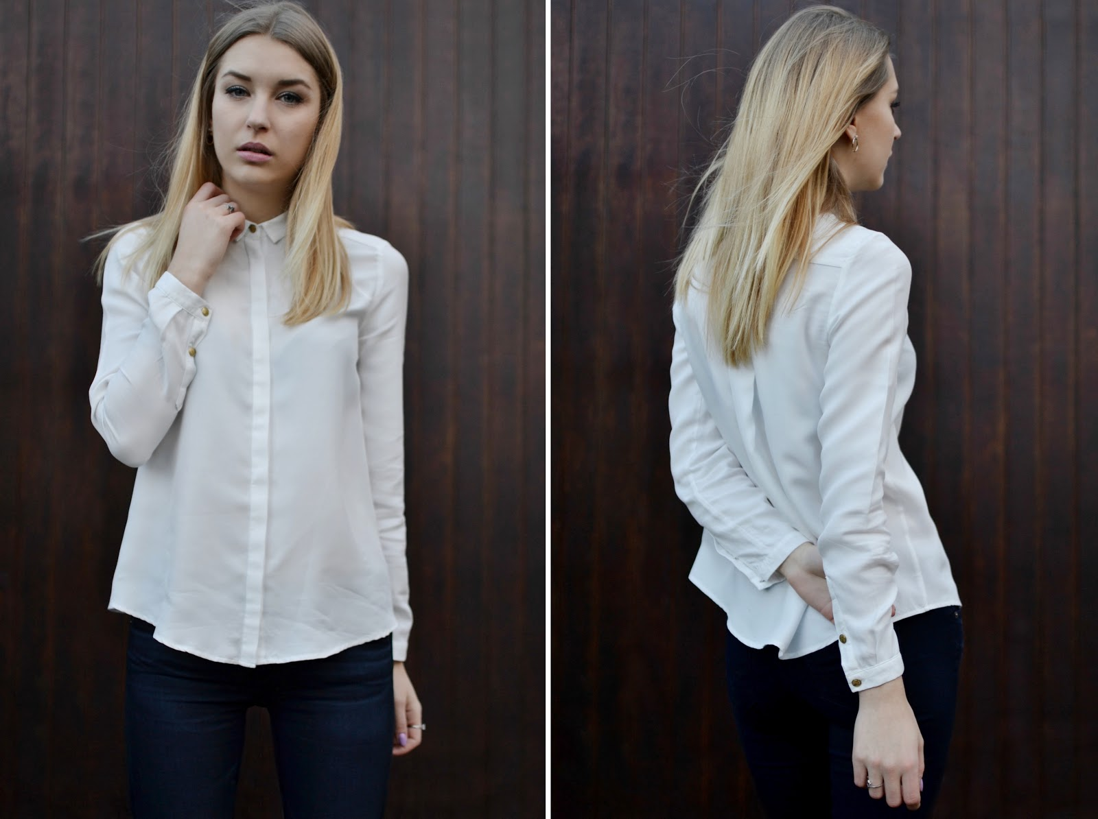 Biba white boyfriend button up shirt