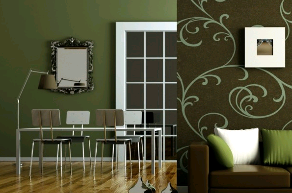 Il verde scuro delle pareti rende cupi gli ambienti