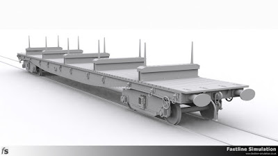 Fastline Simulation: Render of the completed model of a BORAIL EB with 8ft wheelbase plate back bogies.