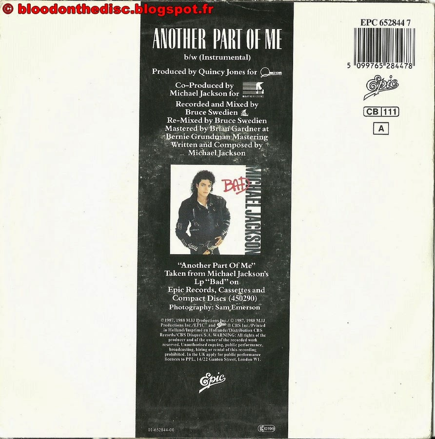 Another Part Of Me 45T Back Cover