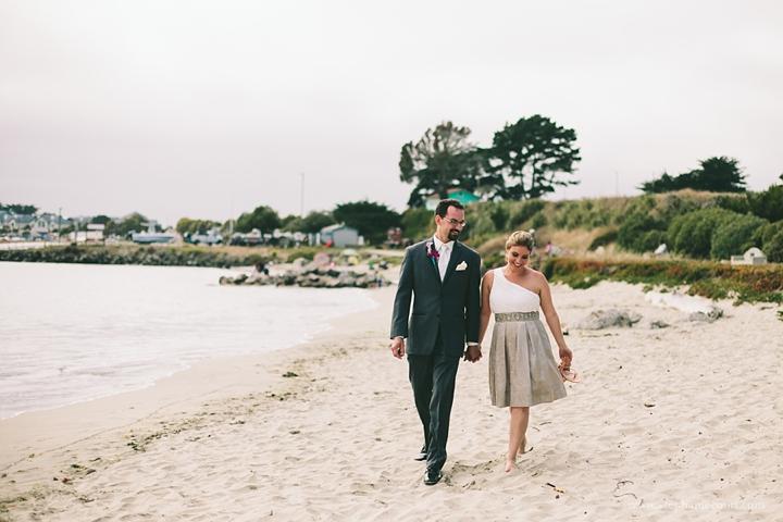 """bride and groom beach photo in half moon bay"""