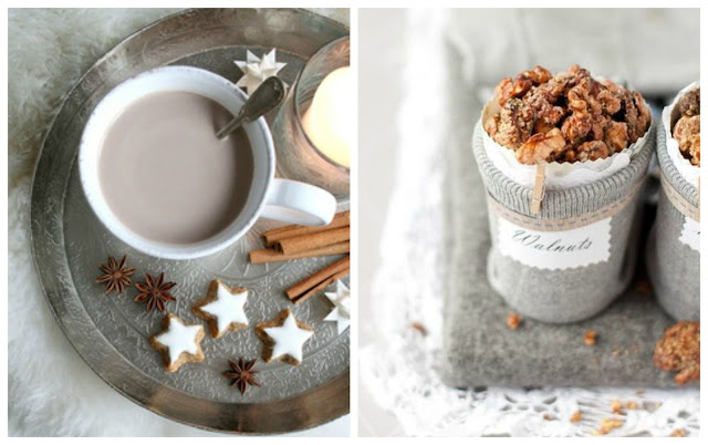 caramelized nuts and hot chocolate