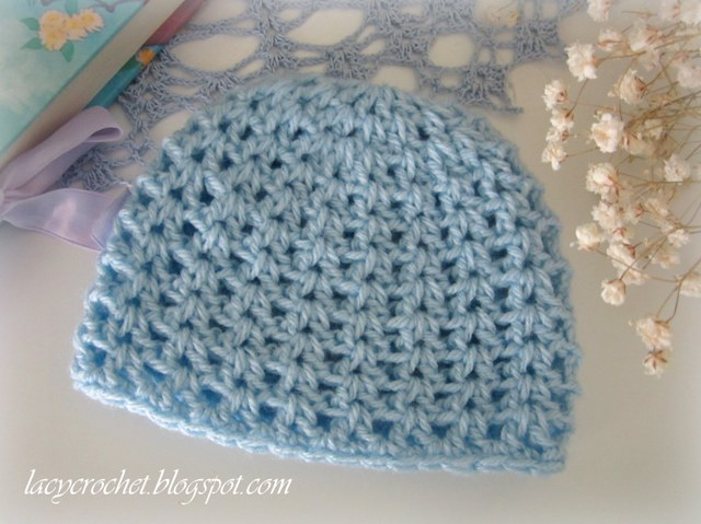 Free Crochet Patterns For Baby Girl Beanie : Lacy Crochet: V-Stitch Newborn Beanie, Free Crochet Pattern
