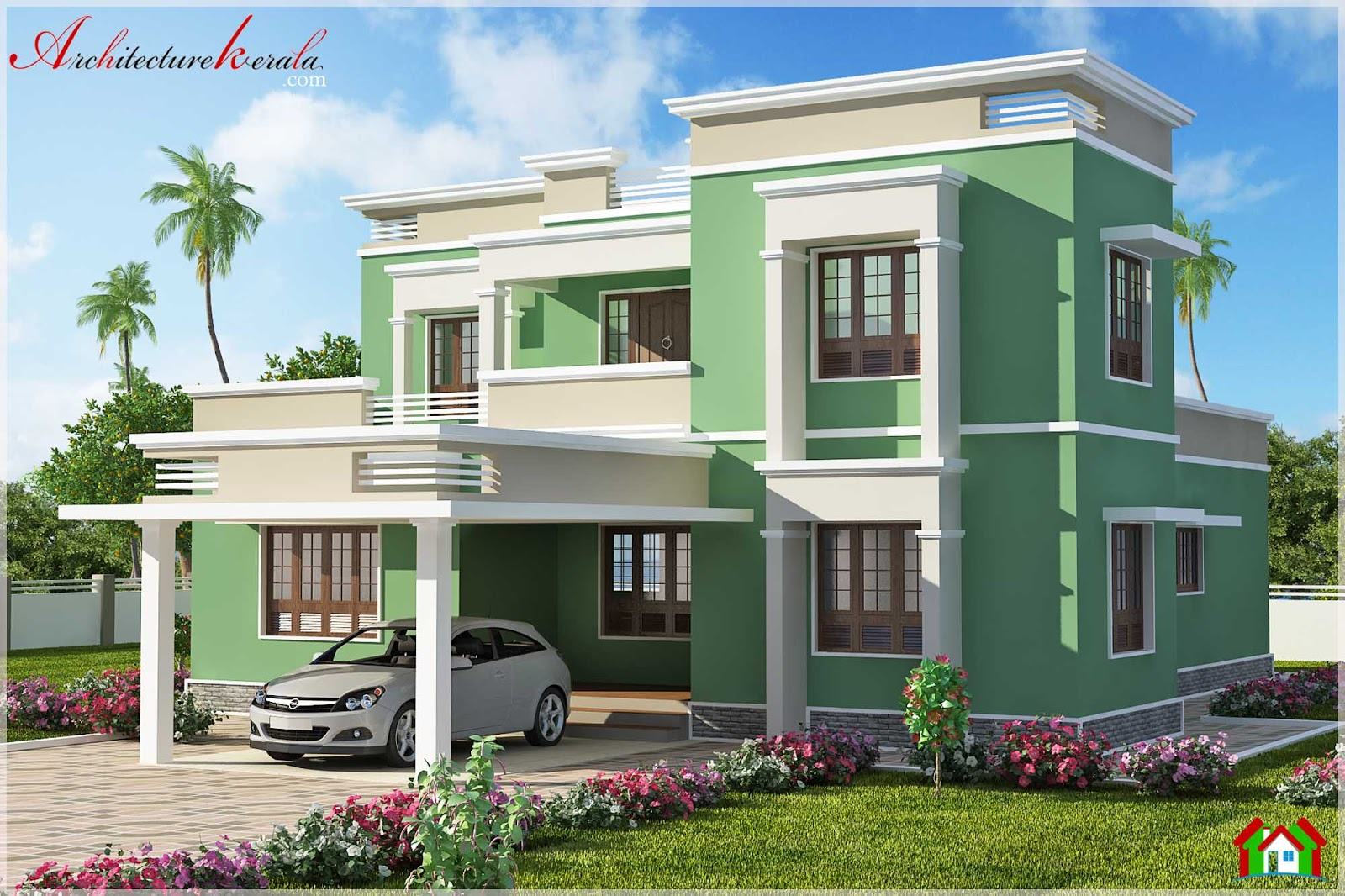 2500 square feet simple contemporary style house elevation for Simple house elevation models