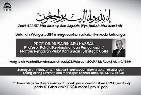 Allahyarham Musa Abu Hassan, fkp, usim, adkdayah