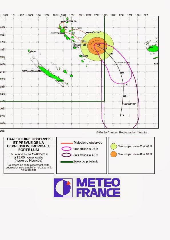 Prévisions de la trajectoire pour la forte tempête tropicale Lusi