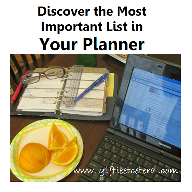 Important list, planner, taking care of you, eating healthy