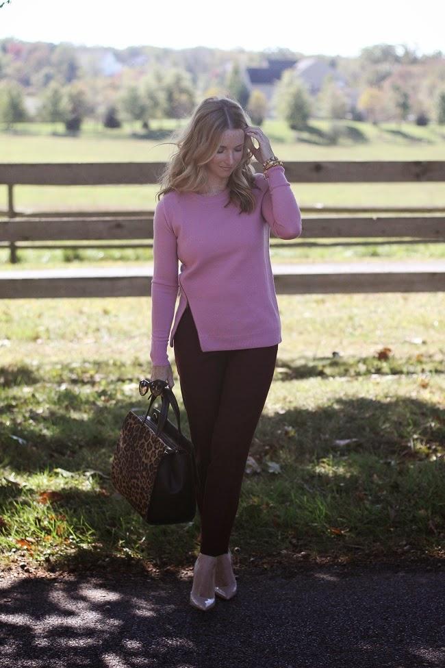 jcrew merino zip sweater, jcrew factory winnie pants, kate spade heels, boden leopard bag, accessory concierge bracelet