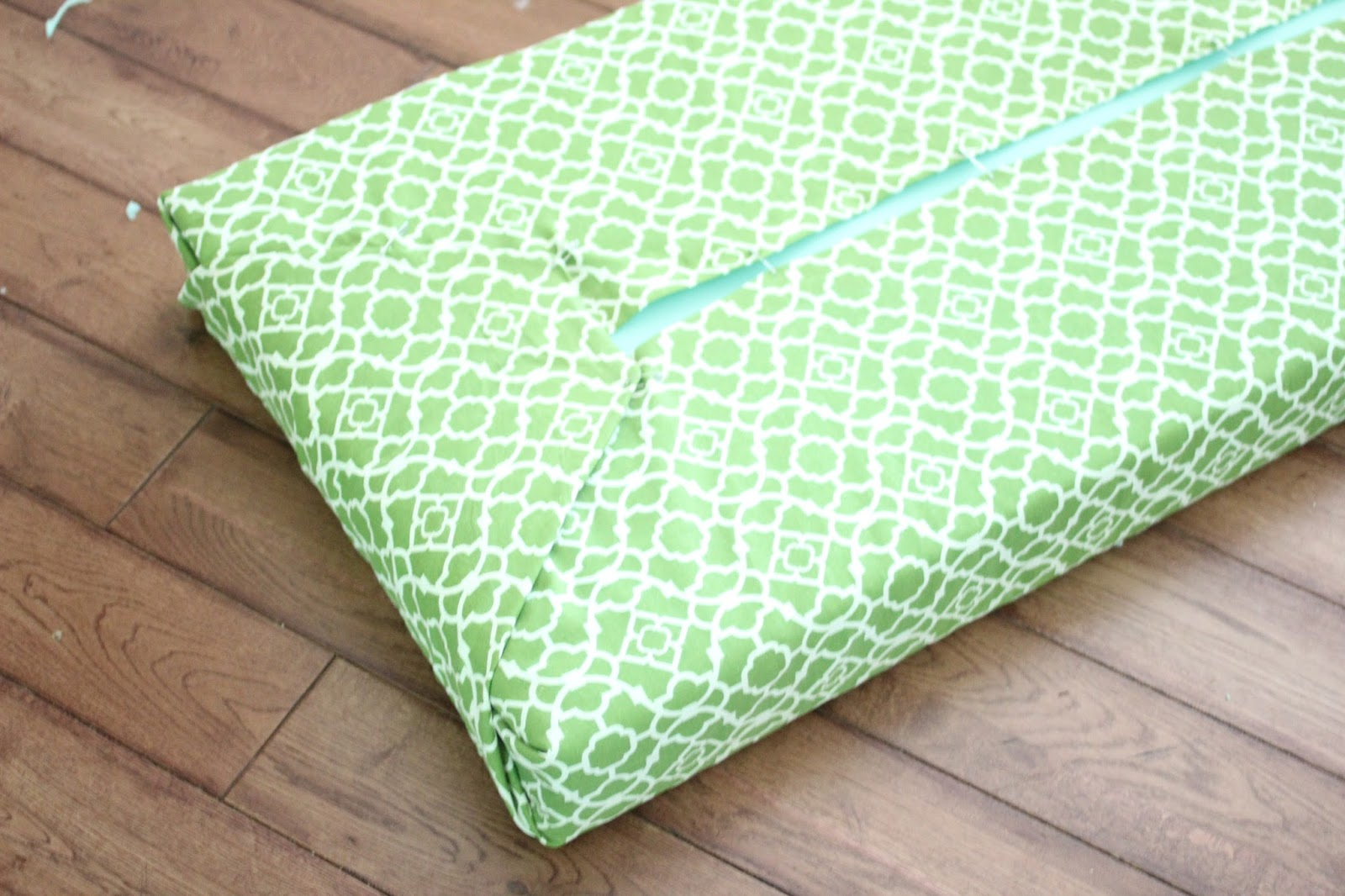 Easy No Sew Cushion With Foam And Safety Pins With A Curtain Panel As  Fabric Via